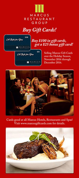 Marcus Hotels and Resorts Gift Card promo - Mason Street Grill